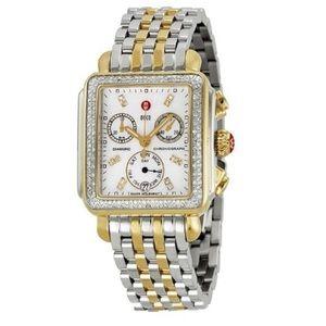 Used Michele Signature Deco Two Tone Diamond Watch